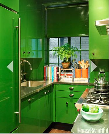 Kitchen cabinets are lacquered in Bamboo Leaf Paint including the Sub-Zero refrigerator.