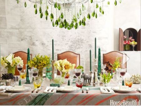 Table setting in Emerald greens. Photo by House Beautiful.